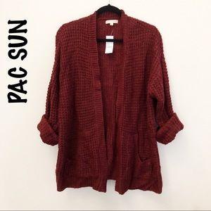 PAC SUN LA Hearts burgundy Chunky sweater Medium